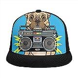 KINGAM Niedlicher Hund nahtloses Muster Unisex Flache Sonnenblende Hüte Trucker Hut Hip-Hop und Street Dance Baseball Caps Verstellbar Schnitt Hund Beißen Boombox