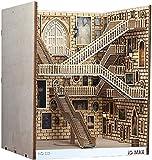 Bucheinlagen aus Holz, Kunst-Buchstützen, DIY-Bücherregal, Dekoration, Ständer, Dekoration, Feengarten, Miniaturen, Heimdekoration, Zubehör (Spiraltreppe, 25,7 cm)