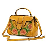 Serious Lamp Designer Lederhandtaschen für Frauen Klassischer Vintage-Stil Damen Mode Umhängetasche Geschnitzte Blume