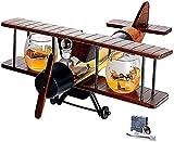 LCY Whiskey Karaffe Antique Whisky Decanter 1000ml Flugzeug Set Und Gläser Mit Whisky Stones Holz Flugzeug Whisky Geschenkset Und 2 Weltkarte Gläser Für Alkohol Bourbon Alkohol