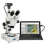 AmScope V434B-C180U3 OMAX USB3 18MP Digitales Trinokulares Zoom Stereomikroskop auf Doppelhalogen Licht mit Schreibtischständer, 3.5X-90X, 23cm x 16cm x 44