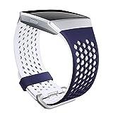 SKYLET Armbänder kompatibel mit Fitbit Ionic, weiches Silikon, atmungsaktives Ersatzarmband, kompatibel mit Fitbit Ionic Smart Watch mit Schnalle [Marineblau-Weiß, Groß]