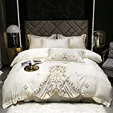 Exlcellexngce Bettbezug 90 X 200 Spannlaken,BettwäSche-Bettbezug Set King-Size 3-TLG-Graue Seide Wie Satin Ultra Weich 1 Bettbezug Und 2 KissenbezüGe-G_1,8m Bett (4 StüCke)