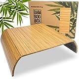 BAM BOO BOX Sofatablett - Sofalehnen Ablage aus Bambus - Armlehnen Tablett aus Holz - Sofaablage in Naturfarbe