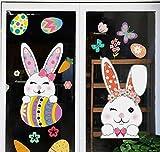 Oster-Fensteraufkleber, Dekorationen, Oster-Aufkleber für Glasfenster, 147 Stück, Ostereier, Hase, Karotte, Fensteraufkleber, Aufkleber für Party-Dekorationen