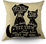Bester Freund Zitat Kissenbezüge Schwarzer Hund und Katze im Inneren Zitat Freunde sind wie Sterne Kissenbezüge 18'x 18' Zoll Baumwolle Leinen Kissenbezug für Männer Frauen Schwarz Weiß