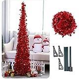 Künstlicher Lametta Pop-Up-Weihnachtsbaum mit Ständer, wunderschöner Faltbarer künstlicher Weihnachtsbaum Größe 2 Farbe Rot
