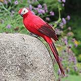 SSLLH Gartendeko 9.8 Zoll Simulation Papagei Skulptur,Vögel Federn Deko Zaunfigur Wanddeko, Dekorative Gartenstatuen Gartenfigur Für Garten Baum Terrasse Zaun, Harz Ornament 6 Farben