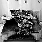 Beige Bettbezug, Mädchen Yakuza Tattoo einer Schlange aus einem Clan sinoby sitzt auf einem Stein bei Water Fantasy, 3-teiliges hochwertiges bedrucktes Mikrofaser-Bettwäscheset, modernes Design mit We