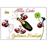 A4 XXL Karte GOLDENE HOCHZEIT MARIENKÄFER mit Umschlag - edle & witzige Klappkarte zum 50 Hochzeitstag Goldhochzeit Glückwunschkarte von BREITENWERK