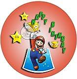 Für die Geburtstags Torte, Zuckerbild mit dem Motiv: Super Mario, Essbares Foto für Torten, Fondant, Tortenaufleger Ø 20cm, 0225c