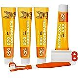 Natural Dog Treats Hundezahnbürste und 4X Zahnpasta Set für Hunde, Rindfleischgeschmack Premium Zahnpflege für Gesunde Zähne & Zahnfleisch