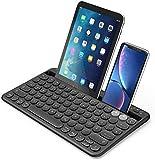 Jelly Comb Bluetooth Tastatur, Multi-Device Bluetooth-Tastatur wiederaufladbar QWERTZ Layout Funktastatur für Tablet, Smartphone, PC, Laptop, Smart TV, Windows, Android, iOS(Schwarz)