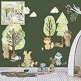 XXL Wandtattoo Woodland Set verschiedene Motive| Kinderzimmer Aufkleber bunt Wanddeko Kindergarten Waldtiere Wald B