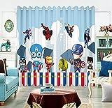 Avengers Captain America Blackout Vorhang Cartoon Anime 3D gedruckte Fenstervorhänge Schlafzimmer Kinderzimmer 230(H) x140(W) Cmx2 Platten/Set (B-215)