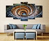 wanmeidp Wandkunstplakat Malerei modulares Bild Dekoration Zeichnung des Wohnzimmers auf Leinwand drucken 5 Wendeltreppe Architektur