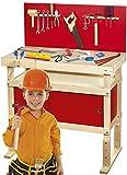 Leomark  Massive WERKBANK FÜR Kinder  Workstation mit 35 Zubehör, Spielwerkbank aus Holz, Kreativspielzeug, Lernspielzeug