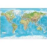 GREAT ART® XXL Poster – Relief Weltkarte – Dekoration Wandbild Gall Projektion Maps-in-Minutes™ Geographie Kartographie aktueller Stand Landkarte Erde 140 x 100 cm