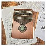 FXBXYLQ Tragbar 17-Key Thumb Piano hochwertiges hölzernes Musikinstrument und lernbuch Piano Musikalisches Geschenk (Color : Brwon)