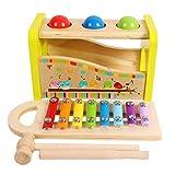 Toys of Wood Oxford Holzspielzeug Hammer Kugelbahn und Xylophon-Set - Spielzeug aus Holz für Babys - Musikspielzeug für Kinder