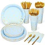 Decorlife Baby-Party-Teller für Jungen, blaue Pappteller für 24, 48 blaue Servietten, 340 ml, Geburtstagstassen, Partyteller, Besteck enthalten, insgesamt 192 Stück