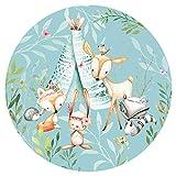 Little Deco Wandsticker Kinderzimmer Wandtatoo Waldtiere Wanddeko Spielzimmer Sticker Kinder Wandaufkleber Baby Wandbild selbstklebend Tapete 120 cm rund DL592