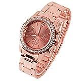 Taffstyle Damen-Armbanduhr Analog Quarz mit Metall-Armband Strass Kristallen Chronograph Optik Uhr Rosegold