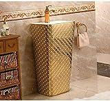 DWSS® Waschbecken Gold Diamonds Rechteckiges Sockelwaschbecken Keramik-Waschbecken mit Standwaschbecken