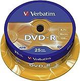 Verbatim DVD-R 16x Matt Silver 4.7GB I 25er Pack Spindel I DVD Rohlinge beschreibbar I 16-fache Brenngeschwindigkeit & Hardcoat Scratch Guard I DVD-R Rohlinge I DVD leer I Rohlinge DVD