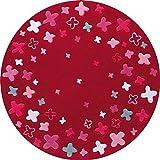 ESPRIT Bloom Field Moderner Markenteppich, Acryl, Rot, 100 x 100 x 1 cm