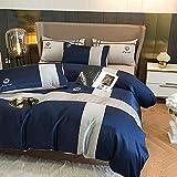 Bettbezug 135 X 200,Frühlings- und Sommer-Seidenbettwäsche, komfortabler, weicher und atmungsaktiver Bettdecke, Einzelbett, Anti-Fading- und Anti-Falten-Bettwäsche-Y._2.0m Bett (4 stücke)