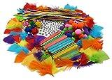 Grafix Großes Bastelset bestehend aus: 120 Wackelaugen, 60 Federn, 80 Pompons, 80 Eisstäbchen, 36 Pfeifenputzern - Bastelmaterial für Kinder und Erwachsene