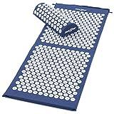 MAXXIVA® Akupressur-Set Matte 130 x 50 cm mit Kissen Blau Yantramatte Fakirmatte stimuliert die Durchblutung, löst Verspannungen