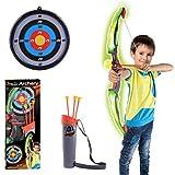 Mecotech Pfeil und Bogen Kinder LED Lichter Bogenschießen Schießspiele mit 3 Pfeilen Saugnapf, 1 Zielscheibe, 1 Bogen und 1 Pfeile Halter, Geschenk für Jungen ab 6 Jahre (Grün)