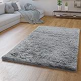 TT Home Hochflor Teppich Grau Wohnzimmer Shaggy Langflor Moderne Einfarbige Muster, Farbe:Grau 2, Größe:120x170 cm