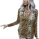 LJXLXY Frauen Mode Sweatshirts Sexy O-Ausschnitt Aushöhlen Leopardenmuster Langarm Tops Braun