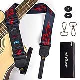 AKLOT Gitarrengurt E-gitarre Band, mit Pick-Halter, 3 Picks, 2 Banjo-Haken,Gurtschlösser für Gitarre Akustikgitarre Banjo Ukulele Gurt Länge Verstellbar von 114 cm bis 162 cm