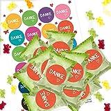 Logbuch-Verlag 24 kleine give-Away Gummibärchen Goodies Süßigkeiten Danke Sagen – befüllte Tütchen mit bunten Aufklebern