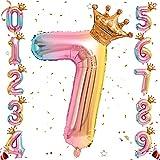 Ousuga Folienballon mit Heliumblättern, Farbverlauf, Regenbogenfarben, 32 Zoll mit Krone für Geburtstag, Party-Dekoration (#7)