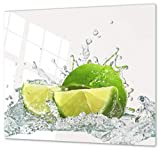 Herdabdeckplatte Schneidebrett aus Glas Universal 2-Teilig   2x je 30x52 cm Kochfeldabdeckung Ceranfeld Induktion Keramikherd Deko Limetten auf Wasser