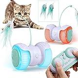 Katzenspielzeug Elektrischer Interaktives Ball,Automatischer Drehender Katzenball mit USB-Aufladung des LED-Lichts and Federspielzeug ,Katzen Roller Ball Intelligenzspielzeug für Cat Haustiereignung