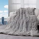 Cottonblue Kunstfell-Decke, wendbar, schwer, 9 kg, luxuriös, kuschelig, lang, warm, schwer, 152,4 x 203,2 cm, superweich, flauschig, Fleece Decke für Winter, Grau