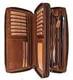 Hill Burry Leder Reisebrieftasche   Dokumententasche - Travel/Wallet aus naturgegerbtem hochwertigem Rindsleder   Organizer/XXL Mappe   Geldbörse Portmonee Portemonnaie (Braun)