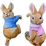 Harz Hasen Garten Ornamente, Mini Kaninchen Figur, Festliches Dekor für Patio Yard Lawn, Garten Dekorationen Zubehör für Outdoor Indoor,Boy&Girl