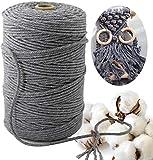 Makramee Garn 3 mmx200 m,naturliches Baumwolle Garn,Macrame Garn Perfekt für DIY Projekte geeignet,Wand Aufhängung, Pflanze Aufhänger Schnur Stricken(Grau)