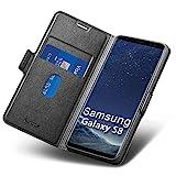 Aunote Samsung S8 Hülle, Samsung Galaxy S8 Handyhülle, Samsung S8 Schutzhülle, Samsung S8 Tasche, Samsung S8 Klapphülle, Leder Etui Folio, Flip Phone Cover Case, Samsung S8 Hülle klappbar. Schwarz