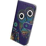 Herbests Kompatibel mit Galaxy A51 Handyhülle Leder Hülle Bunt Motiv Muster Leder Flip Schutzhülle Tasche Wallet Case Kartenfach Standfunktion Magnetverschluss,Eule Mandala Blumen