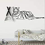 Ruhender Tiger Wandtattoo Liegend Indien Tiger Vinyl Wandaufkleber Wohnkultur Wohnzimmer Schlafzimmer Tigar Art Wandbild Tapete E 124X42Cm