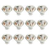 Gmasuber MR16 Halogenlampen, 12 Stück, 10 W, 12 V, MR16, GU5.3, Bi-Stiftsockel, Halogenlampe, 12 Volt, Halogenstrahler, für Akzent-Schienenbeleuchtung, Landschaftsbeleuchtung, Warmweiß 2700 K