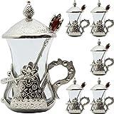 Alisveristime Set mit 6 handgefertigten, türkischen Tee-Wasser, Zamzam-Servierset, Gläser und Untertasse (Silber)